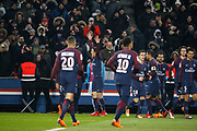 Edinson Roberto Paulo Cavani Gomez (psg) (El Matador) (El Botija) (Florestan) scored the third goal, celebration, Layvin Kurzawa (psg), Neymar da Silva Santos Junior - Neymar Jr (PSG), Giovani Lo Celso (PSG), Thiago Silva (PSG) during the French Championship Ligue 1 football match between Paris Saint-Germain and Olympique de Marseille on february 25, 2018 at Parc des Princes stadium in Paris, France - Photo Stephane Allaman / ProSportsImages / DPPI