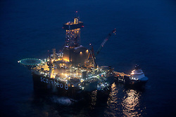 NORWAY BARENTS SEA 6DEC15 - General view of the ultra-deepwater Scarabeo 8 drilling rig at the Goliat-field in the Barents Sea. Scarabeo is a 6th generation semi-submersible drilling rig owned  and operated by Saipem.<br /> <br /> <br /> <br /> jre/Photo by Jiri Rezac / Greenpeace<br /> <br /> &copy; Jiri Rezac 2015