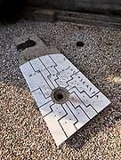 Italy, San Vito d'Altivole. Tomba Brion (Brion Tomb and Sanctuary) by Carlo Scarpa. Carlo Scarpa's own grave.
