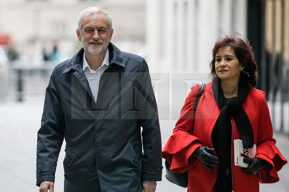 © Licensed to London News Pictures. 13/01/2019. London, UK. Leader of the Labour Party Jeremy Corbyn MP and his wife Laura Alvarez arrive at BBC Broadcasting House to appear on The Andrew Marr Show. Photo credit: Rob Pinney/LNP