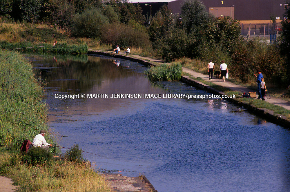 Fishing on the canal at Darnall in Sheffield ....