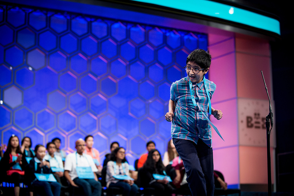 Saketh Sundar, 11, from Elkridge, Md., reacts after spelling his word correctly as he participates in the finals of the 2017 Scripps National Spelling Bee on Thursday, June 1, 2017 at the Gaylord National Resort and Convention Center at National Harbor in Oxon Hill, Md.      Photo by Pete Marovich/UPI