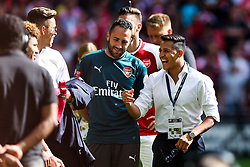 Alexis Sanchez of Arsenal (who did not feature) celebrates with his teammates after they win the penalty shootout to lift the Community Shield - Rogan Thomson/JMP - 06/08/2017 - FOOTBALL - Wembley Stadium - London, England - Arsenal v Chelsea - FA Community Shield.