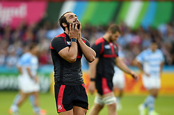 Tamaz Mchedlidze of Georgia strokes his beard prior to kick off - Mandatory byline: Patrick Khachfe/JMP - 07966 386802 - 25/09/2015 - RUGBY UNION - Kingsholm Stadium - Gloucester, England - Argentina v Georgia - Rugby World Cup 2015 Pool C.