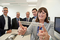 17/09/2013 REPRO FREE Ms Máire Geoghegan-Quinn, EU Commissioner for Innovation, Research and Science with from left 4 of Medtronic Vice Presidents, Mr. Sean Salmon , Mr Mike Coyle, Mr Steve Oesterle and Mr Gerard Kilcommins, at the opening of the Medtronic Global Innovation centre at Medtronic, Galway. Photo:Andrew Downes