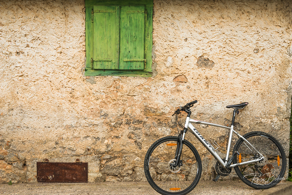 Bicycle and weathered wall, Northern Velebit National Park, Croatia