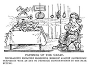 Pastimes of the Great. Suffragette privately hardening herself against gastronomic temptation with an eye to probably hunger-strikes in the near future.