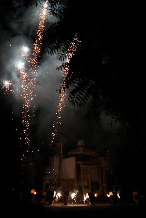 Fireworks go off as the Effigy burns.