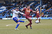 Bury Forward, Ryan Lowe shoots during the Sky Bet League 1 match between Bury and Bradford City at the JD Stadium, Bury, England on 5 March 2016. Photo by Mark Pollitt.