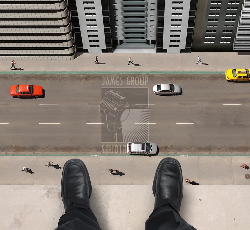 Shoes of a businessman hanging over a ledge of a tall building with cars and people down below