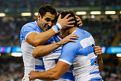 Argentina Winger Juan Imhoff celebrates with Full Back Joaquin Tuculet after scoring the second try of the game - Mandatory byline: Rogan Thomson/JMP - 07966 386802 - 18/10/2015 - RUGBY UNION - Millennium Stadium - Cardiff, Wales - Ireland v Argentina - Rugby World Cup 2015 Quarter Finals.