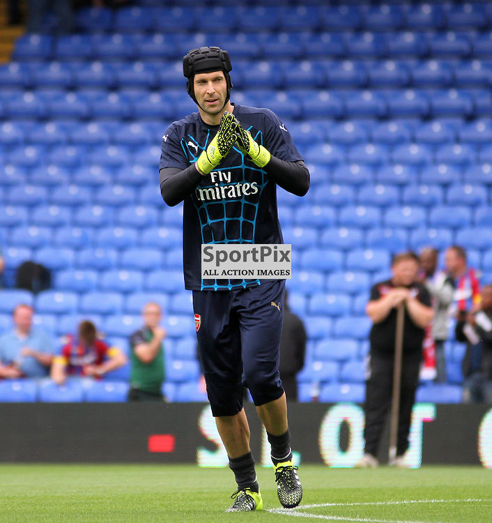 Petr Cech claps the travelling away fans before Crystal Palace vs Arsenal on Sunday the 16th August 2015.
