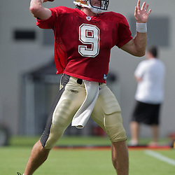 31 July 2009: New Orleans Saints quarterback Drew Brees (9) throws the ball during a drill on the opening day of New Orleans Saints training camp held at the team's practice facility in Metairie, Louisiana.