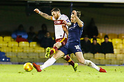 Bradford's midfielder Romain Vincelot and Southend's defender Ryan Leonard both vie for the ball during the EFL Sky Bet League 1 match between Southend United and Bradford City at Roots Hall, Southend, England on 16 December 2017. Photo by Matt Bristow.