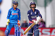 England womens cricket Danielle Wyatt is out caught and bowled byIndia womens cricket Deepti Sharma  during the ICC Women's World Cup match between England and India at the 3aaa County Ground, Derby, United Kingdom on 24 June 2017. Photo by Simon Davies.