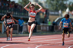 MARTINEZ Yanina, NICOLEITZIK Claudia, JEON Min Jae, ARG, GER, KOR, 100m, T36, 2013 IPC Athletics World Championships, Lyon, France