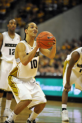 Jan 23, 2010; Columbia, MO, USA; Missouri Tigers guard Michael Dixon Jr. (10) shoots a free throw in the second half of the game against the Nebraska Cornhuskers at Mizzou Arena in Columbia, MO. Missouri won 70-53. Mandatory Credit: Denny Medley-US PRESSWIRE