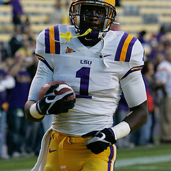 Oct 31, 2009; Baton Rouge, LA, USA;  LSU Tigers wide receiver Brandon LaFell (1) during warm ups prior to kickoff against the Tulane Green Wave at Tiger Stadium. LSU defeated Tulane 42-0. Mandatory Credit: Derick E. Hingle