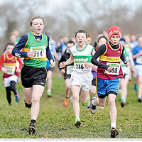 23 February 2014; Jack Hickey, Moyne A.C, Co. Tipperary, left, and Ferdia O'Lionain, Tulla A.C, Co. Clare, lead on the opening lap of the Under 13 Boys 1500m race during the Woodie's DIY Intermediate, Master & Juvenile Development Cross Country Championships of Ireland. Cow Park, Dunboyne, Co. Meath. Picture credit: Ramsey Cardy / SPORTSFILE