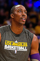 30 October 2012: Center (12) Dwight Howard of the Los Angeles Lakers warms up before the Dallas Mavericks 99-91 victory over the Lakers at the STAPLES Center in Los Angeles, CA.