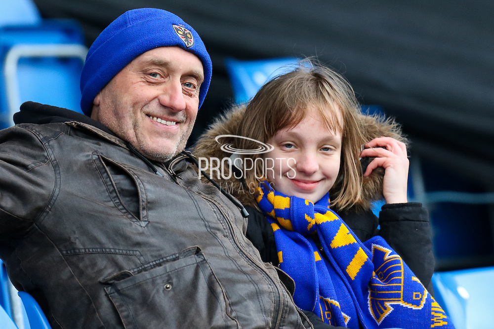 AFC Wimbledon supporters before the EFL Sky Bet League 1 match between Chesterfield and AFC Wimbledon at the Proact stadium, Chesterfield, England on 21 January 2017. Photo by Aaron  Lupton.