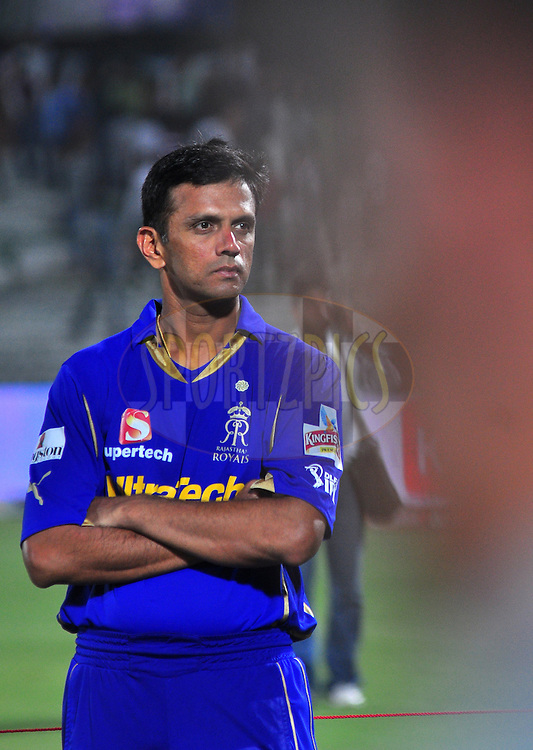 Rajasthan Royals captian Rahul Dravid react after match during match 30 of the the Indian Premier League ( IPL) 2012  between The Rajasthan Royals and the Royal Challengers Bangalore held at the Sawai Mansingh Stadium in Jaipur on the 23rd April 2012..Photo by Arjun Panwar/IPL/SPORTZPICS