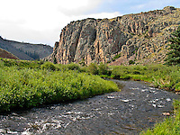 Cochetopa Creek flowing into the south gate of Cochetopa Canyon, Colorado.