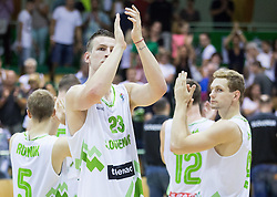 Alen Omic of Slovenia and Jaka Blazic of Slovenia after the friendly basketball match between National teams of Slovenia and Australia, on August 3, 2015 in Arena Tri lilije, Lasko, Slovenia. Photo by Vid Ponikvar / Sportida