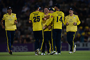 Hampshire celebrate the wicket of Dwayne Bravo during the Vitality T20 Blast South Group match between Hampshire County Cricket Club and Middlesex County Cricket Club at the Ageas Bowl, Southampton, United Kingdom on 20 July 2018. Picture by Dave Vokes.