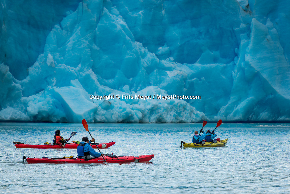 Patagonia, Chile, February 2016. Hiking and Kayaking the Grey Glacier with Bigfoot adventure company.  Torres del Paine is a UNESCO World Biosphere Reserve and encompasses mountains, glaciers, lakes, and rivers in southern Chilean Patagonia. The Cordillera del Paine is the centerpiece of the park. It lies in a transition area between the Magellanic subpolar forests and the Patagonian Steppes. A 4x4 camper is one of the best vehicles to explore the wild interior of Southern Patagonia. Photo by Frits Meyst / MeystPhoto.com