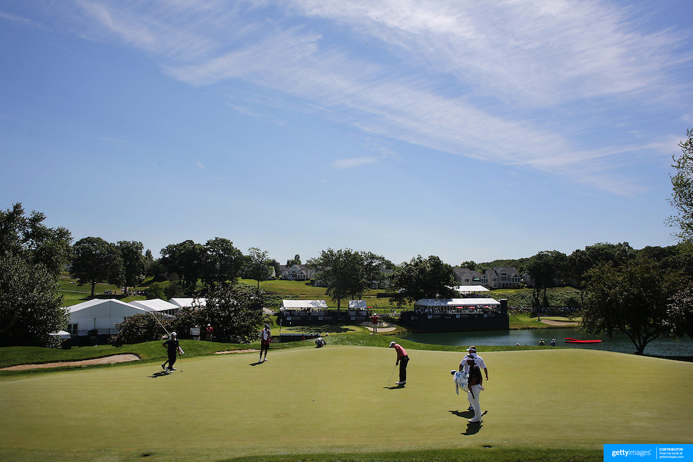 A general view of the first hole during the second round of the Travelers Championship at the TPC River Highlands, Cromwell, Connecticut, USA. 20th June 2014. Photo Tim Clayton