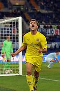 Eguren celebrates scoring for Villareal against Lazio. Uefa Cup, 22nd October 2009.