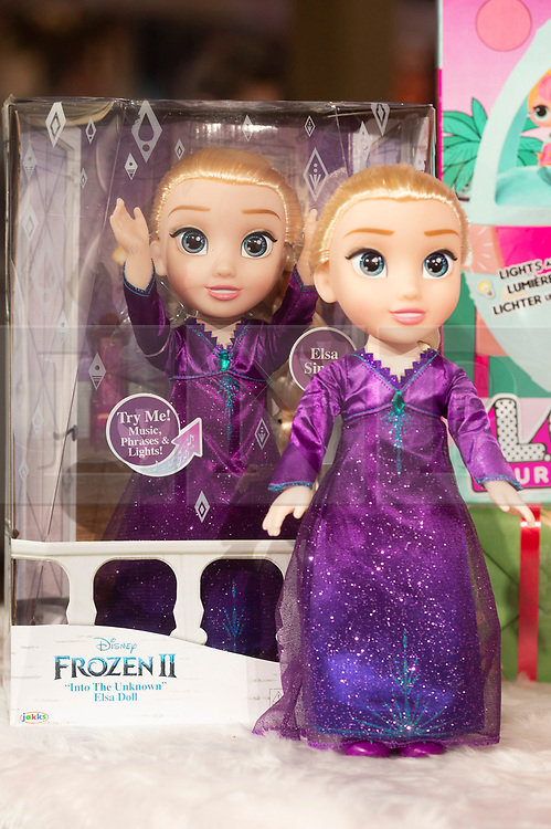 © Licensed to London News Pictures. 13/11/2019. London, UK. An Else doll from Frozen II is on display at the Bastian Top 12 Christmas DreamToys. Photo credit: Ray Tang/LNP