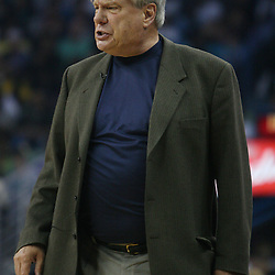 Golden State Warriors head coach Don Nelson screams at officials after a foul was called against the Warriors in the first half of their NBA game on April 6, 2008 at the New Orleans Arena in New Orleans, Louisiana.