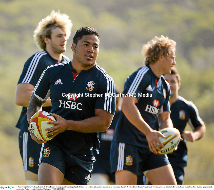 4 July 2013; Manu Tuilagi, British & Irish Lions, during squad training ahead of their 3rd test match against Australia on Saturday. British & Irish Lions Tour 2013, Squad Training. Noosa Dolphins RFC, Dolphin Oval, Sunshine Beach, Queensland, Australia. Picture credit: Stephen McCarthy / SPORTSFILE