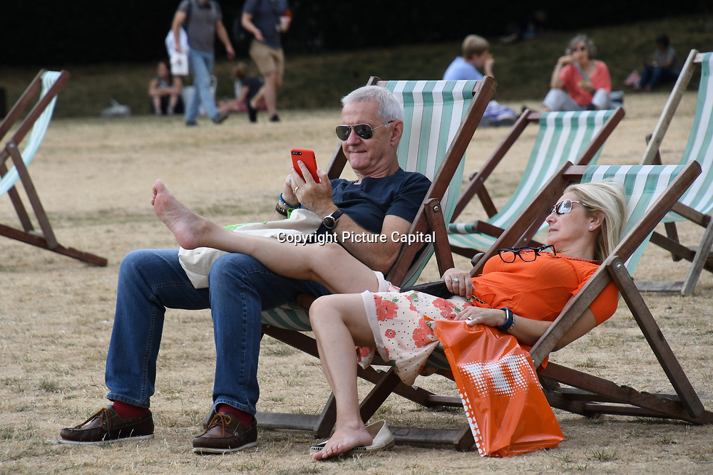 The longest Heatwaves continues in the UK seen 1976 at Green Park on July 18 2018,  London, UK