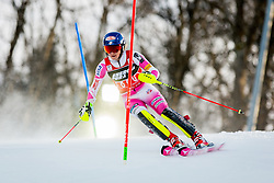 """Mikaela Shiffrin (USA) during FIS Alpine Ski World Cup 2016/17 Ladies Slalom race named """"Snow Queen Trophy 2017"""", on January 3, 2017 in Course Crveni Spust at Sljeme hill, Zagreb, Croatia. Photo by Žiga Zupan / Sportida"""