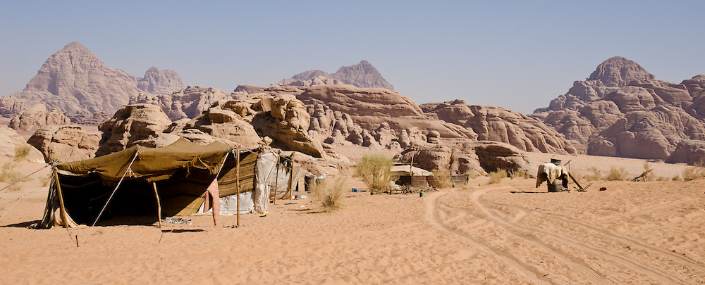 One of the few traditional shepherd tents left in the desert at Wadi Rum, Jordan. Most tents in the desert here now are for tourist camps. Long term drought has made herding more difficult than in the past.