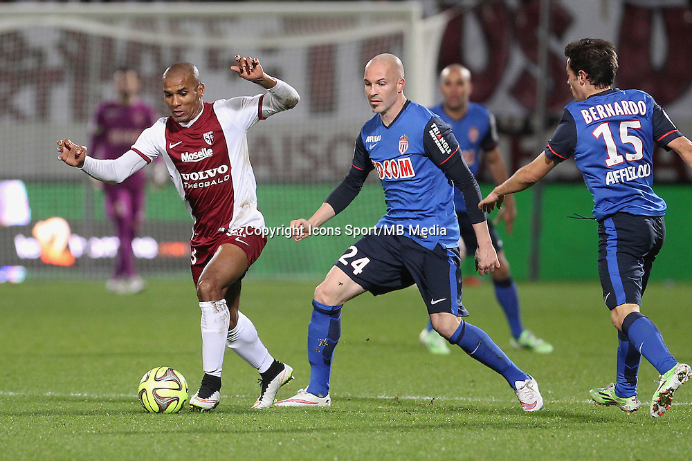 Florent MALOUDA / Andrea RAGGI - 20.12.2014 - Metz / Monaco - 17e journee Ligue 2<br />Photo : Fred Marvaux / Icon Sport