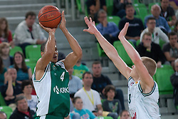 Mustafa Abdul-Hamid of Krka and Sasu Salin of Union Olimpija during basketball match between KK Union Olimpija Ljubljana and KK Krka in 2nd game final of Telemach Slovenian Champion League 2011/12, on May 20, 2012 in Arena Stozice, Ljubljana, Slovenia. (Photo by Grega Valancic/ Sportida.com)