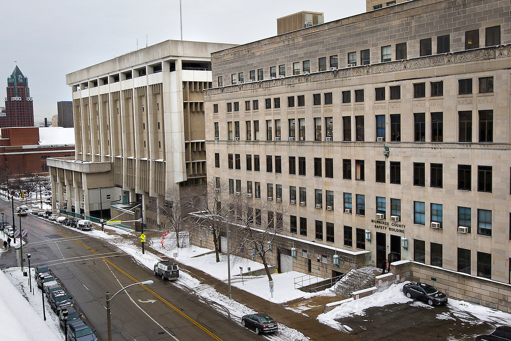 MILWAUKEE, WI – DECEMBER 16: A view of the Milwaukee County Safety Building, right, and Milwaukee Police Administration building on Friday, December 16, 2016.