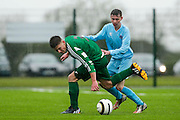 NECSL Cup Finals at MDL, Navan, 2nd May 2015.<br /> U-17 final: Parkvilla vs Trim Celtic<br /> Ryan Griffith (Parkvilla) & Cormac Hunt (Trim Celtic)<br /> Photo: David Mullen / www.cyberimages.net / 2015
