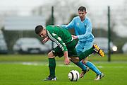 NECSL Cup Finals at MDL, Navan, 2nd May 2015.<br /> U-17 final: Parkvilla vs Trim Celtic<br /> Ryan Griffith (Parkvilla) &amp; Cormac Hunt (Trim Celtic)<br /> Photo: David Mullen / www.cyberimages.net / 2015