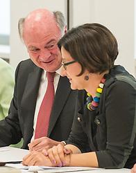 26.05.2014, OeVP Bundespartei, Wien, AUT, OeVP, Vorstandssitzung der OeVP Bundespartei. im Bild v.l.n.r. Landeshauptmann Niederoesterreich Erwin Proell OeVP und Bundesministerin fuer Inneres Johanna Mikl-Leitner (OeVP) // f.l.t.r. Governor of Lower Austria Erwin Proell and Minister of the Interior Johanna Mikl-Leitner (OeVP) before board meeting of OeVP at federal party of OeVP in Vienna, Austria on 2014/05/26. EXPA Pictures © 2014, PhotoCredit: EXPA/ Michael Gruber