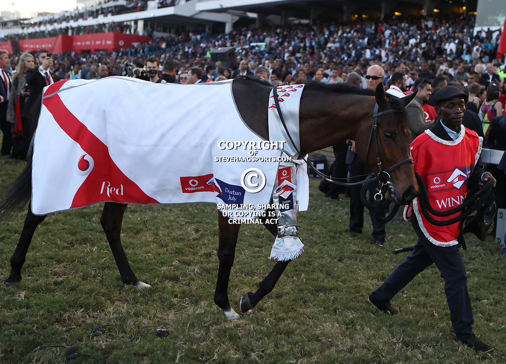 Winning  MARINARESCO during RACE 7 THE VODACOM DURBAN JULY (Grade 1) - 2200m &ndash; R4 250 000 at THE VODACOM DURBAN JULY at Greyville Racecourse in Durban, South Africa on 1st July 2017<br /> Photo by:  Steve Haag Sports