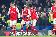 Goal Arsenal forward Gabriel Martinelli (35) scores a goal and celebrates 1-1 during the Premier League match between Chelsea and Arsenal at Stamford Bridge, London, England on 21 January 2020.