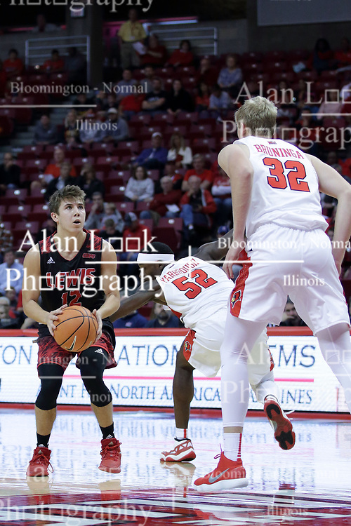 05 November 2017:  Milik Yarbrough guards Adam Pischke during a Lewis College Flyers and Illinois State Redbirds in Redbird Arena, Normal IL