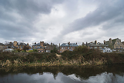Large villas in Merchiston and Union Canal in early spring  in Edinburgh, Scotland, UK