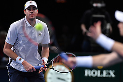 John Isner plays Andy Murray during the Mens Singles Final on day seven of the BNP Paribas Masters at Palais Omnisports de Bercy on November 6, 2016 in Paris, France. Murray has celebrated his impending rise to the world No 1 ranking with a 6-3 6-7(4) 6-4 victory to claim his maiden Paris Masters title and his eighth tournament win of the season. Photo by Laurent Zabulon/ABACAPRESS.COM