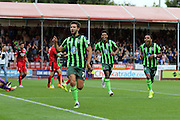 George Francomb of AFC Wimbledon scores the winner and celebrates during the Sky Bet League 2 match between Crawley Town and AFC Wimbledon at the Checkatrade.com Stadium, Crawley, England on 15 August 2015. Photo by Stuart Butcher.